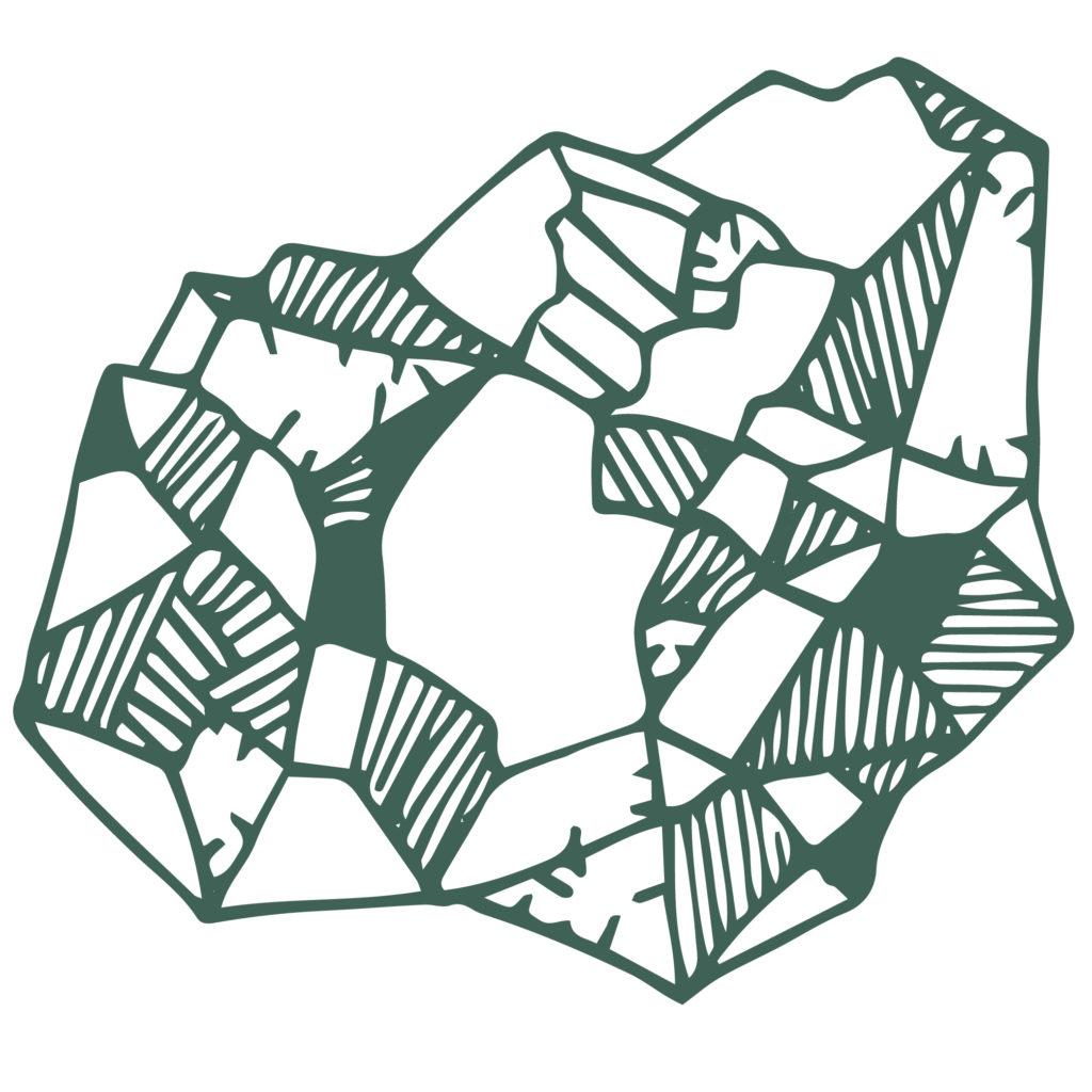 Hier ist die Kulturton Bildmarke zu sehen. Eine Grafik in dunkel-grün auf hellem Grund. Dargestellt wir ein Stein mit Texturen.